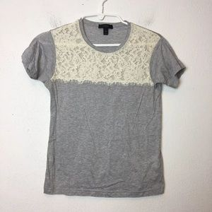 J Crew Gray Lace T Shirt